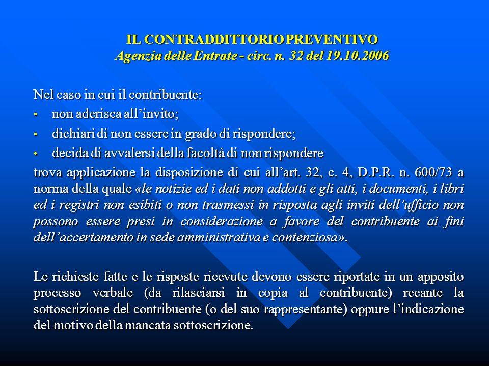IL CONTRADDITTORIO PREVENTIVO Agenzia delle Entrate - circ.