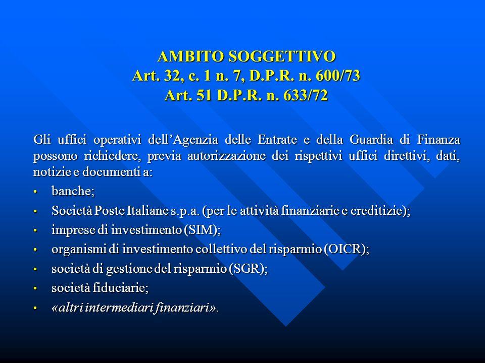 AMBITO SOGGETTIVO Art. 32, c. 1 n. 7, D.P.R. n.