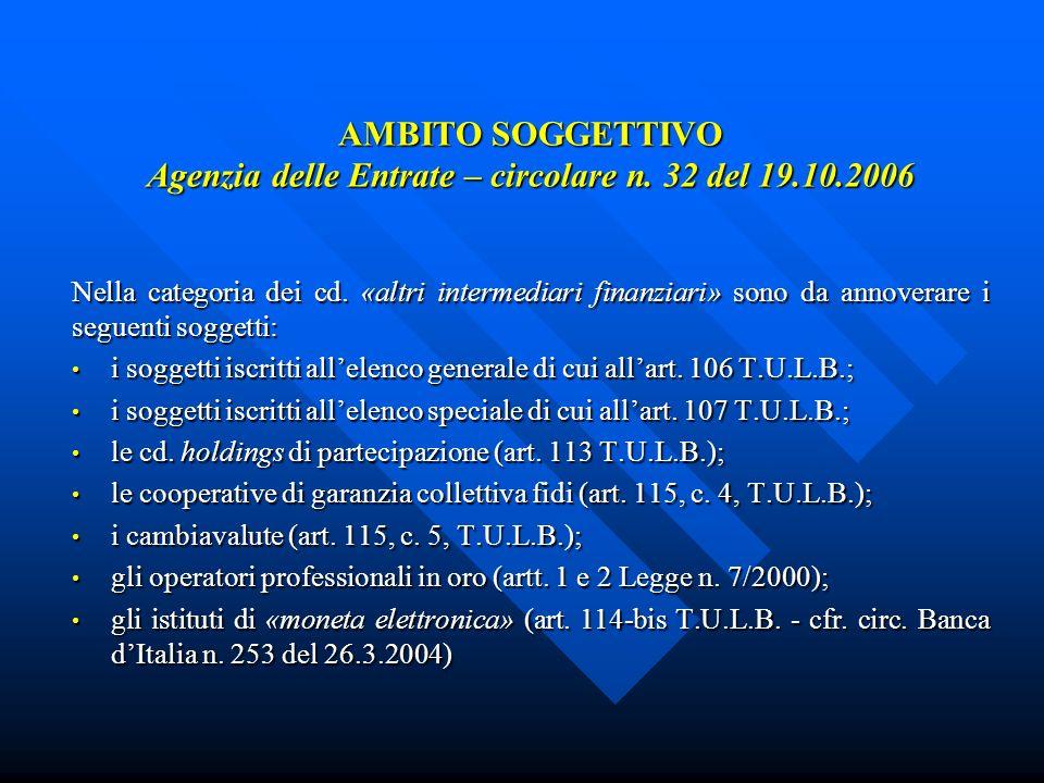 AMBITO SOGGETTIVO Agenzia delle Entrate – circolare n.