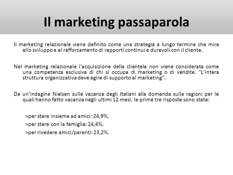 Il marketing passaparola Il marketing relazionale viene definito come una strategia a lungo termine che mira allo sviluppo e al rafforzamento di rappo