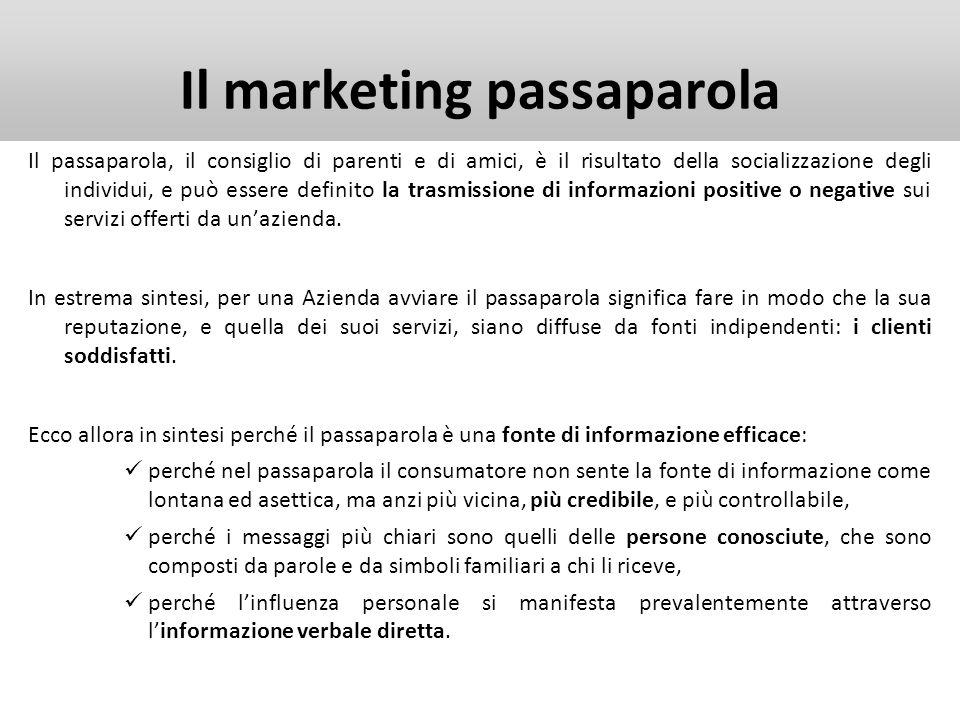 Il marketing passaparola Il passaparola, il consiglio di parenti e di amici, è il risultato della socializzazione degli individui, e può essere defini