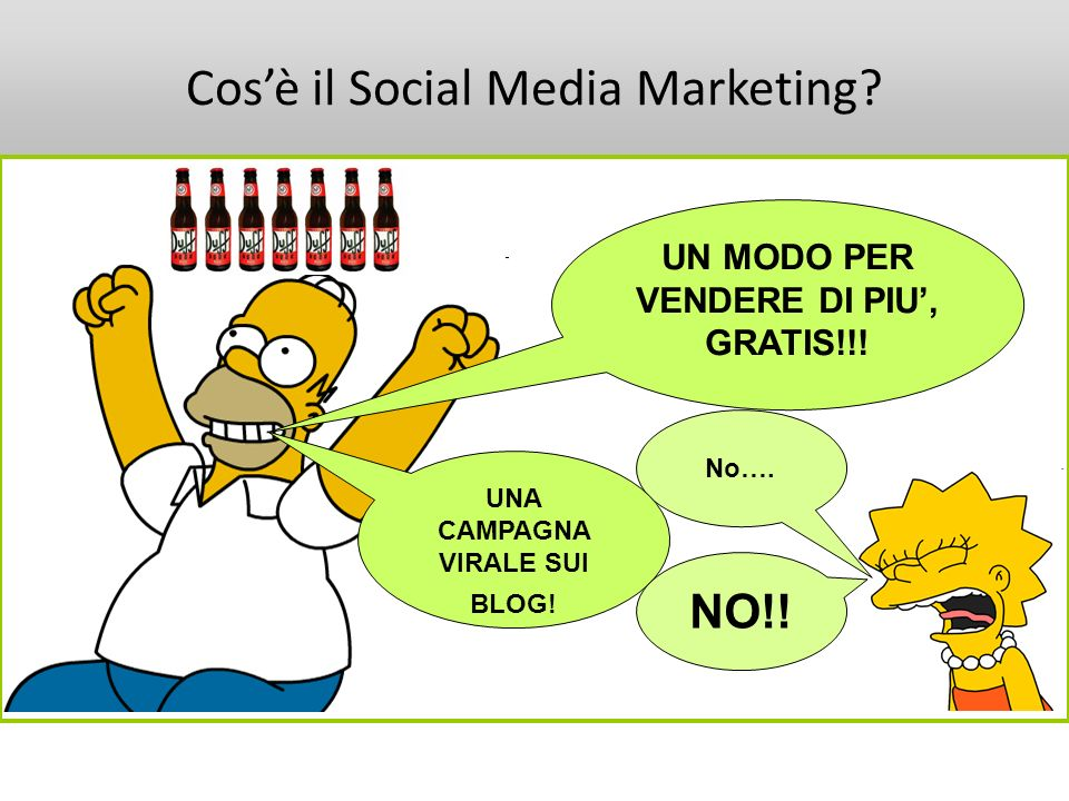 Cosè il Social Media Marketing? UN MODO PER VENDERE DI PIU, GRATIS!!! No…. UNA CAMPAGNA VIRALE SUI BLOG! NO!!