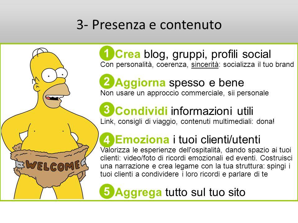 3- Presenza e contenuto Crea blog, gruppi, profili social Con personalità, coerenza, sincerità: socializza il tuo brand Aggiorna spesso e bene Non usa