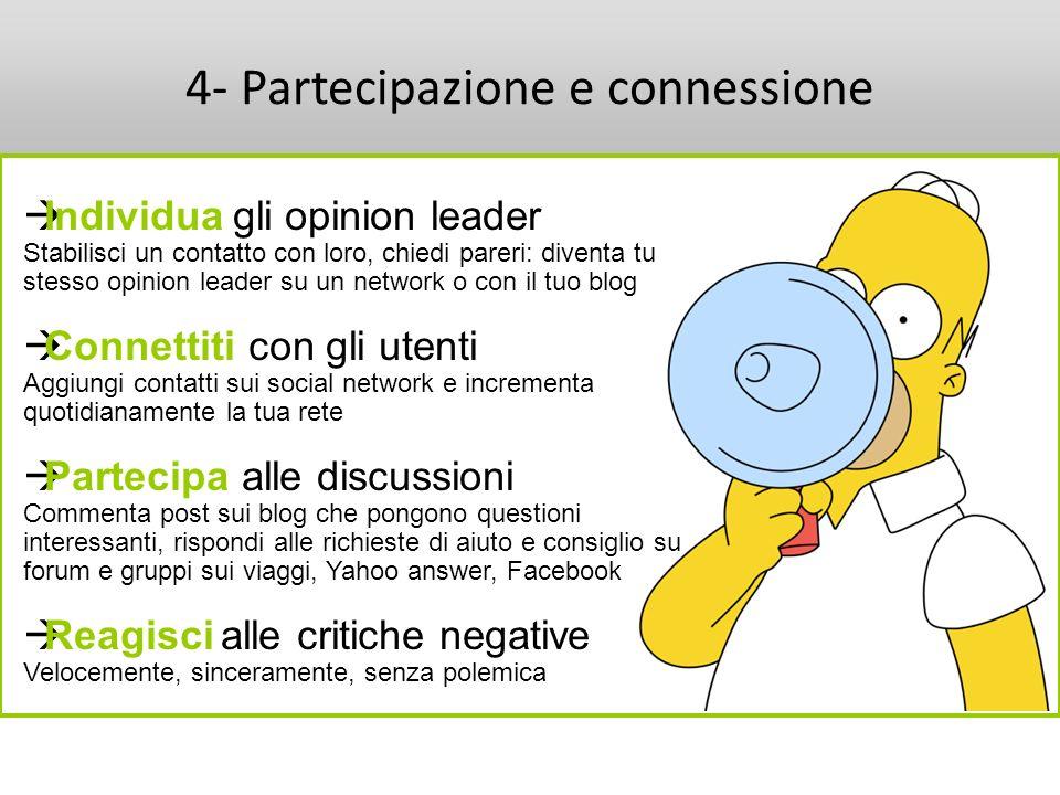 4- Partecipazione e connessione Individua gli opinion leader Stabilisci un contatto con loro, chiedi pareri: diventa tu stesso opinion leader su un ne