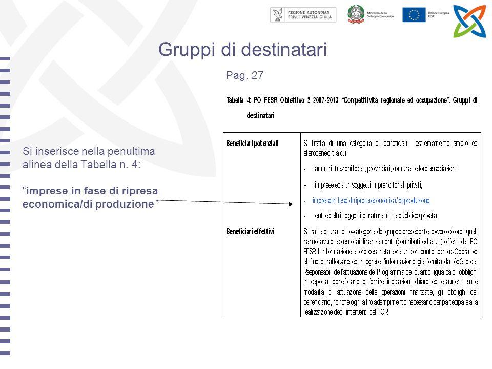 Gruppi di destinatari Pag. 27 Si inserisce nella penultima alinea della Tabella n.
