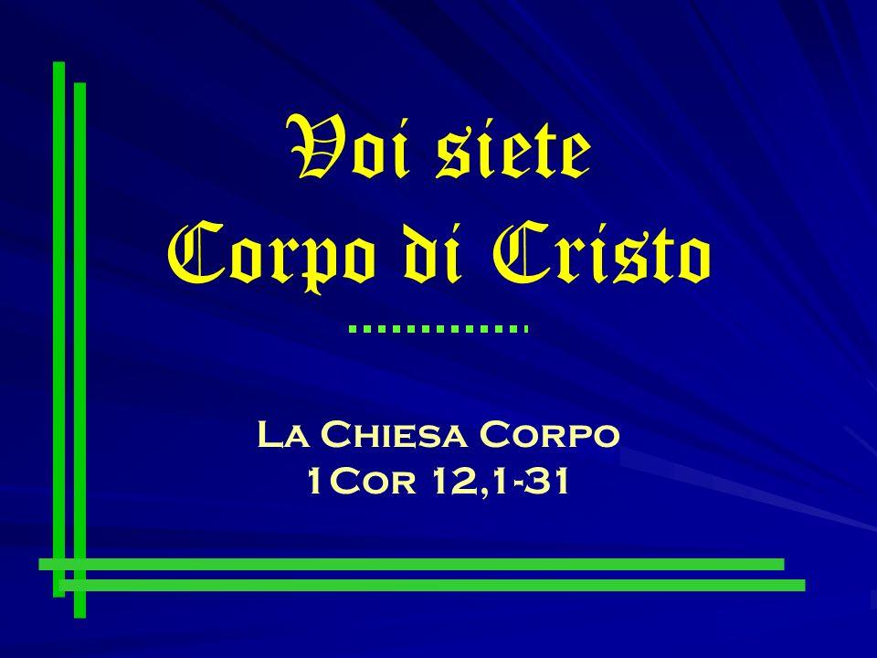 Voi siete Corpo di Cristo La Chiesa Corpo 1Cor 12,1-31