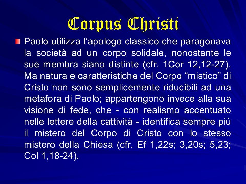 Corpus Christi Paolo utilizza lapologo classico che paragonava la società ad un corpo solidale, nonostante le sue membra siano distinte (cfr. 1Cor 12,