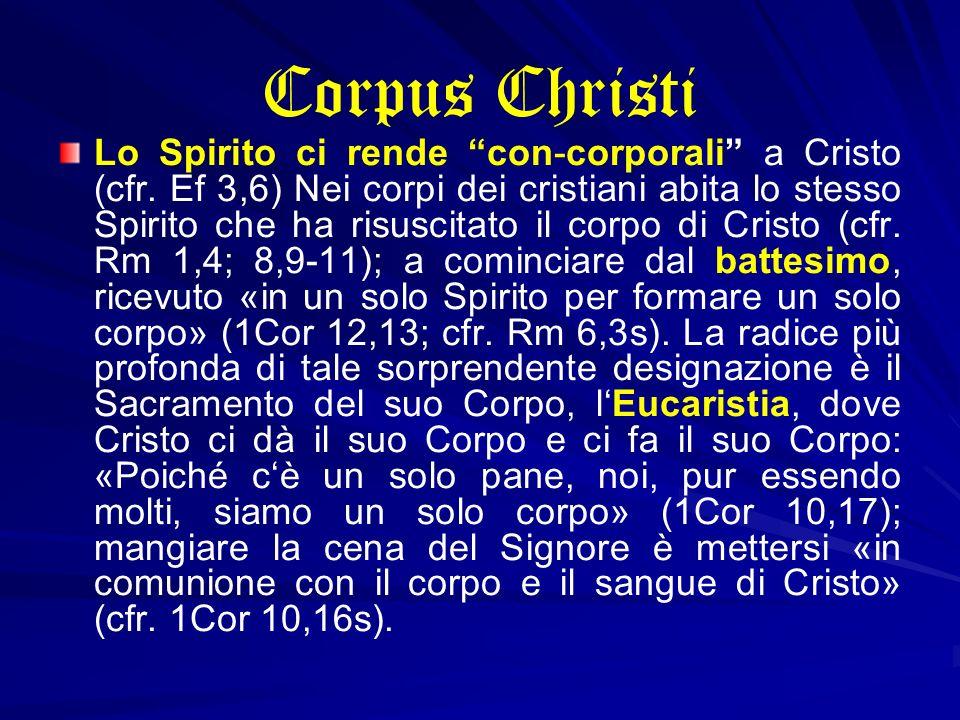 Corpus Christi Lo Spirito ci rende con-corporali a Cristo (cfr. Ef 3,6) Nei corpi dei cristiani abita lo stesso Spirito che ha risuscitato il corpo di