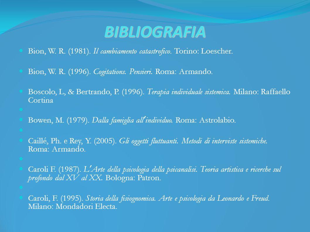 BIBLIOGRAFIA Bion, W. R. (1981). Il cambiamento catastrofico.