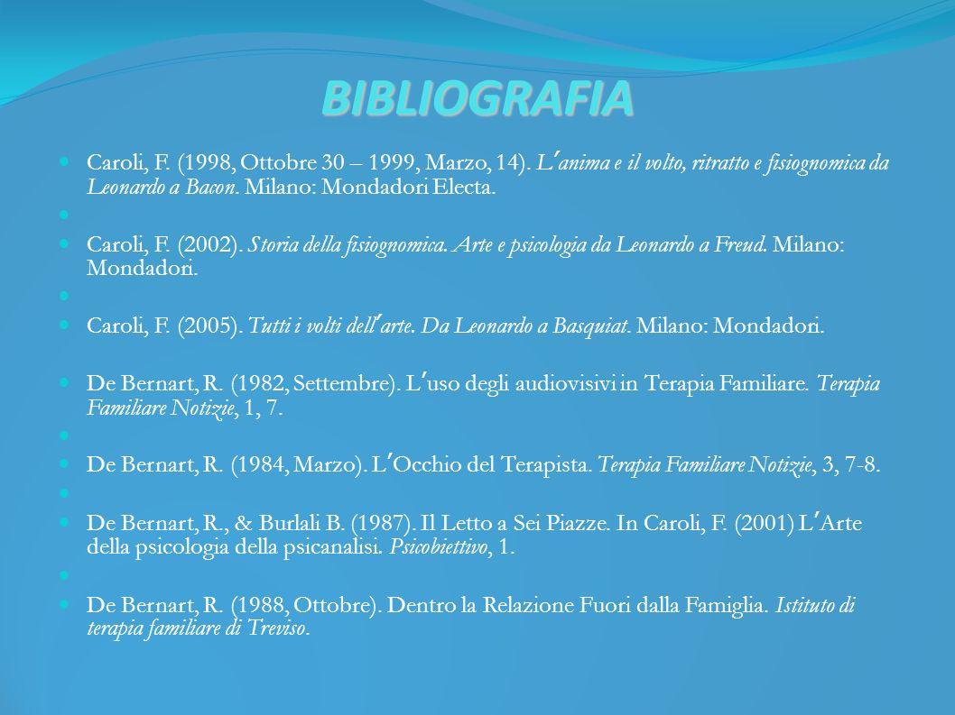 BIBLIOGRAFIA Caroli, F. (1998, Ottobre 30 – 1999, Marzo, 14).