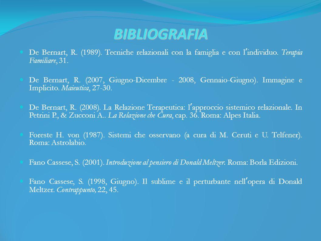 BIBLIOGRAFIA De Bernart, R. (1989). Tecniche relazionali con la famiglia e con lindividuo.