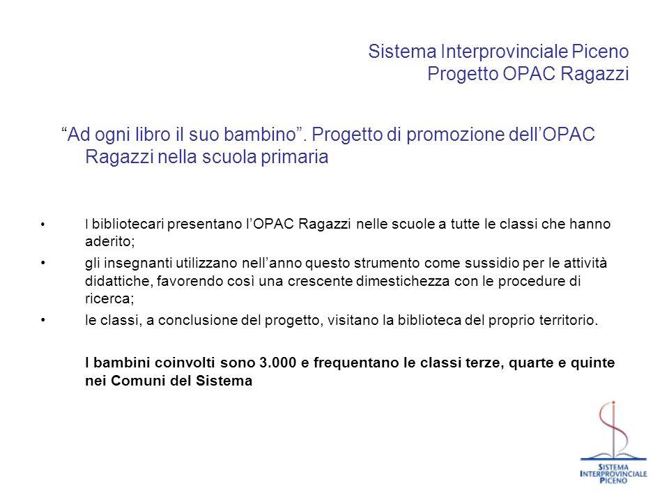 Sistema Interprovinciale Piceno Progetto OPAC Ragazzi Ad ogni libro il suo bambino. Progetto di promozione dellOPAC Ragazzi nella scuola primaria I bi
