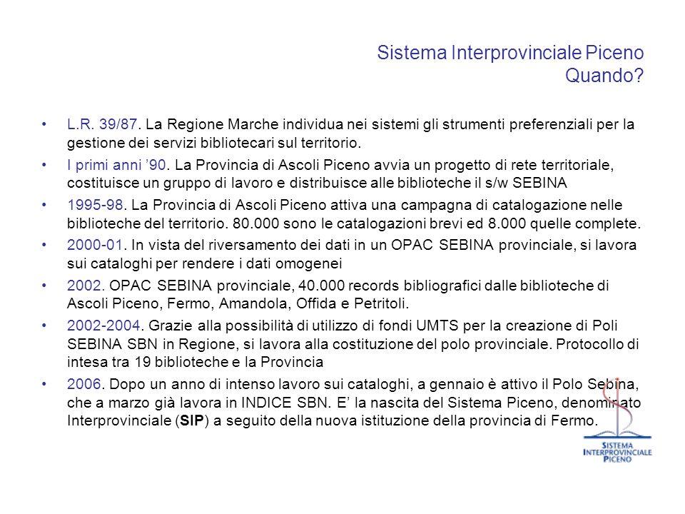 Sistema Interprovinciale Piceno Quando? L.R. 39/87. La Regione Marche individua nei sistemi gli strumenti preferenziali per la gestione dei servizi bi