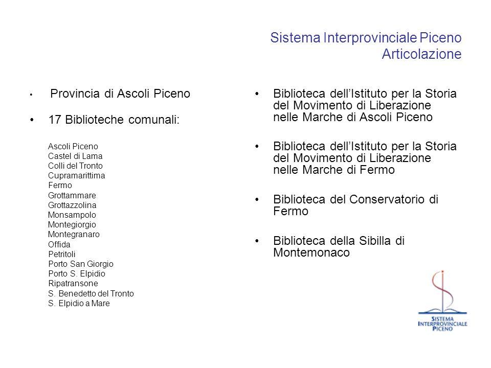 Sistema Interprovinciale Piceno Articolazione Provincia di Ascoli Piceno 17 Biblioteche comunali: Ascoli Piceno Castel di Lama Colli del Tronto Cupram