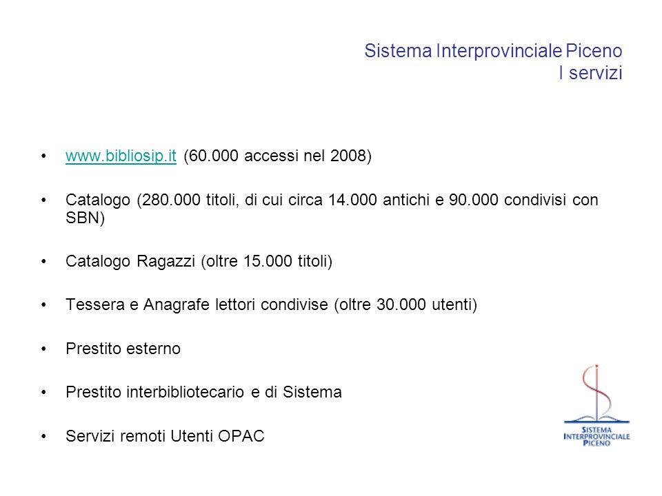 Sistema Interprovinciale Piceno I servizi www.bibliosip.it (60.000 accessi nel 2008)www.bibliosip.it Catalogo (280.000 titoli, di cui circa 14.000 ant