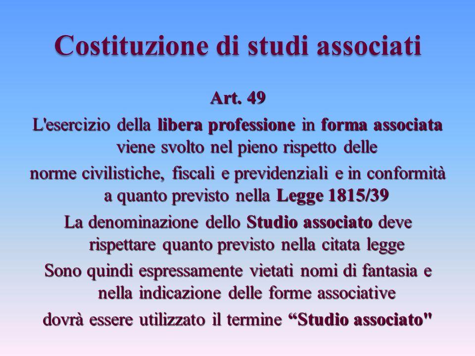 Costituzione di studi associati Art.