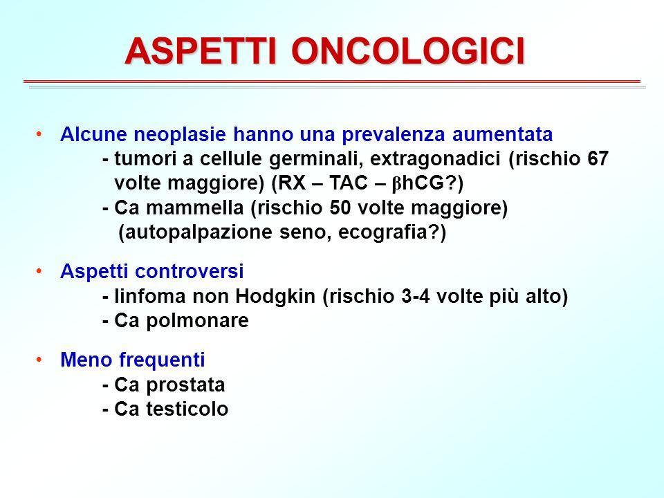 ASPETTI ONCOLOGICI Alcune neoplasie hanno una prevalenza aumentata - tumori a cellule germinali, extragonadici (rischio 67 volte maggiore) (RX – TAC – β hCG?) - Ca mammella (rischio 50 volte maggiore) (autopalpazione seno, ecografia?) Aspetti controversi - linfoma non Hodgkin (rischio 3-4 volte più alto) - Ca polmonare Meno frequenti - Ca prostata - Ca testicolo