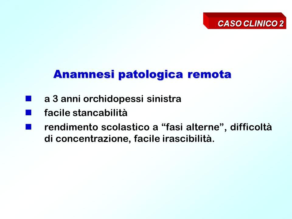 CASO CLINICO 2 Anamnesi patologica remota a 3 anni orchidopessi sinistra facile stancabilità rendimento scolastico a fasi alterne, difficoltà di concentrazione, facile irascibilità.