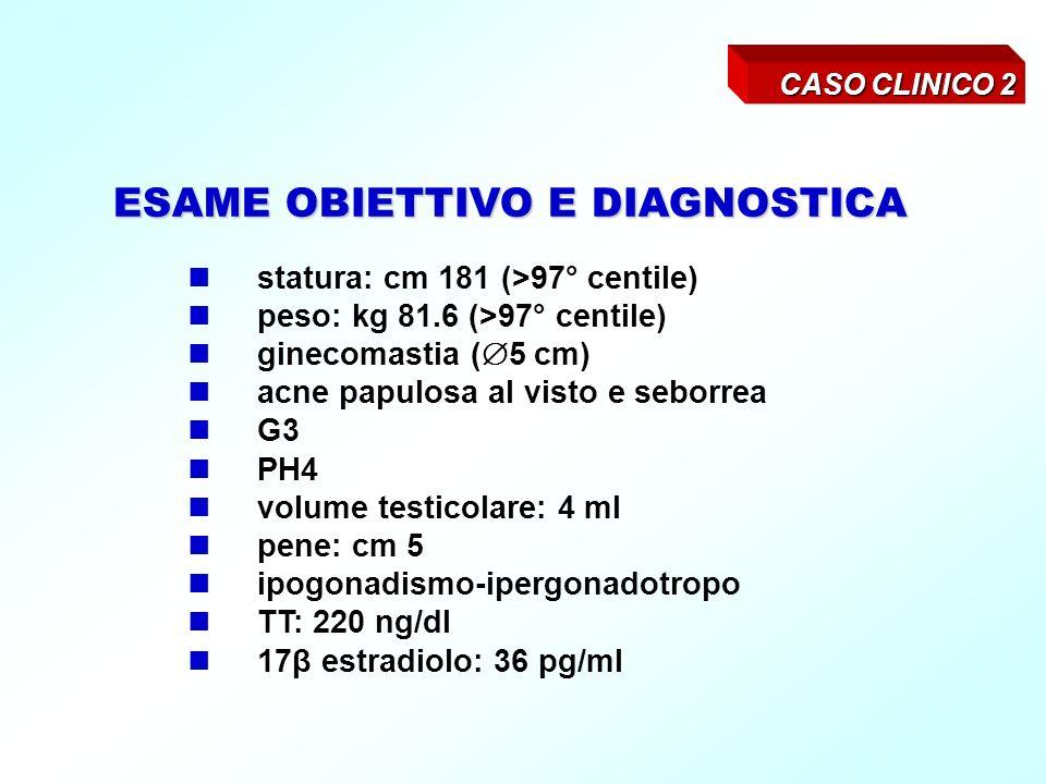 CASO CLINICO 3 Anni 14.6 Viene inviato per alta statura, comparsa alletà di 8 anni.