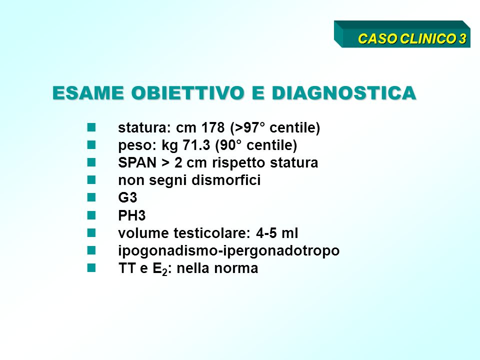 statura: cm 178 (>97° centile) peso: kg 71.3 (90° centile) SPAN > 2 cm rispetto statura non segni dismorfici G3 PH3 volume testicolare: 4-5 ml ipogonadismo-ipergonadotropo TT e E 2 : nella norma ESAME OBIETTIVO E DIAGNOSTICA CASO CLINICO 3