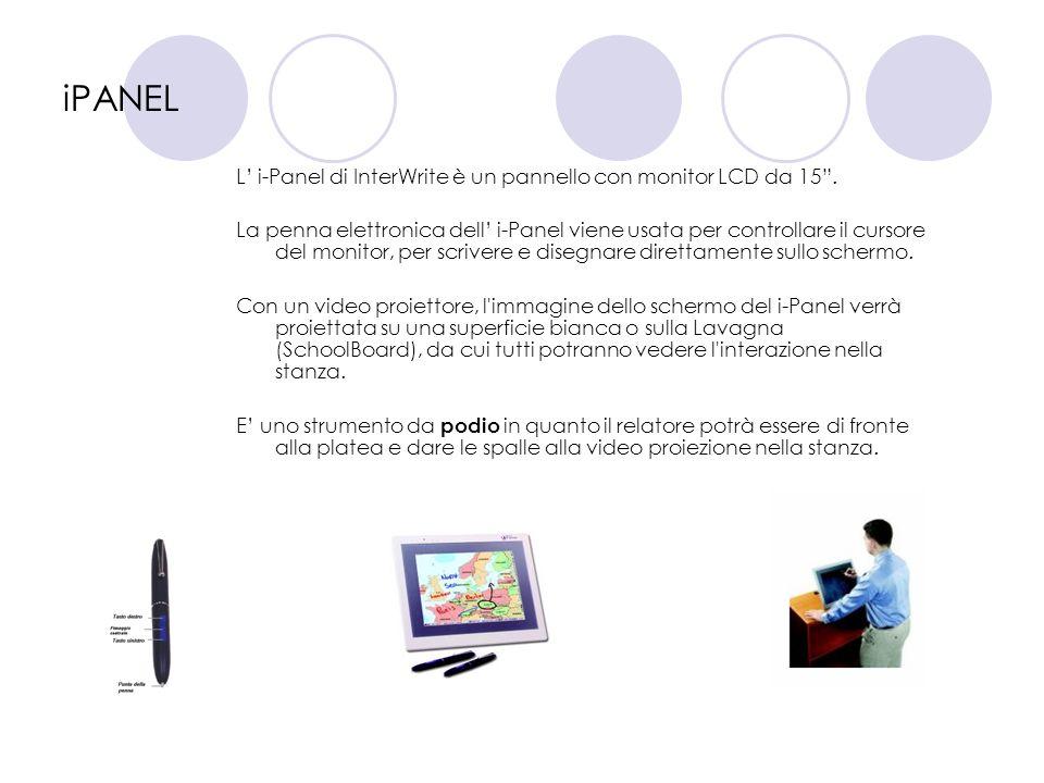 iPANEL L i-Panel di InterWrite è un pannello con monitor LCD da 15. La penna elettronica dell i-Panel viene usata per controllare il cursore del monit