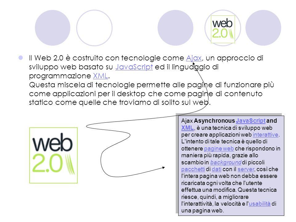 Il Web 2.0 è costruito con tecnologie come Ajax, un approccio di sviluppo web basato su JavaScript ed il linguaggio di programmazione XML. Questa misc
