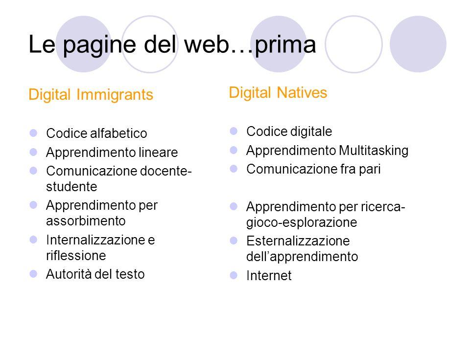 Le pagine del web…prima Digital Immigrants Codice alfabetico Apprendimento lineare Comunicazione docente- studente Apprendimento per assorbimento Inte