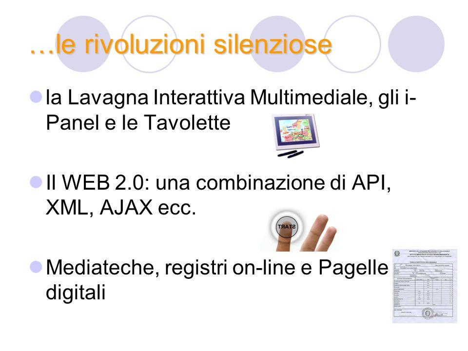 …le rivoluzioni silenziose la Lavagna Interattiva Multimediale, gli i- Panel e le Tavolette Il WEB 2.0: una combinazione di API, XML, AJAX ecc. Mediat