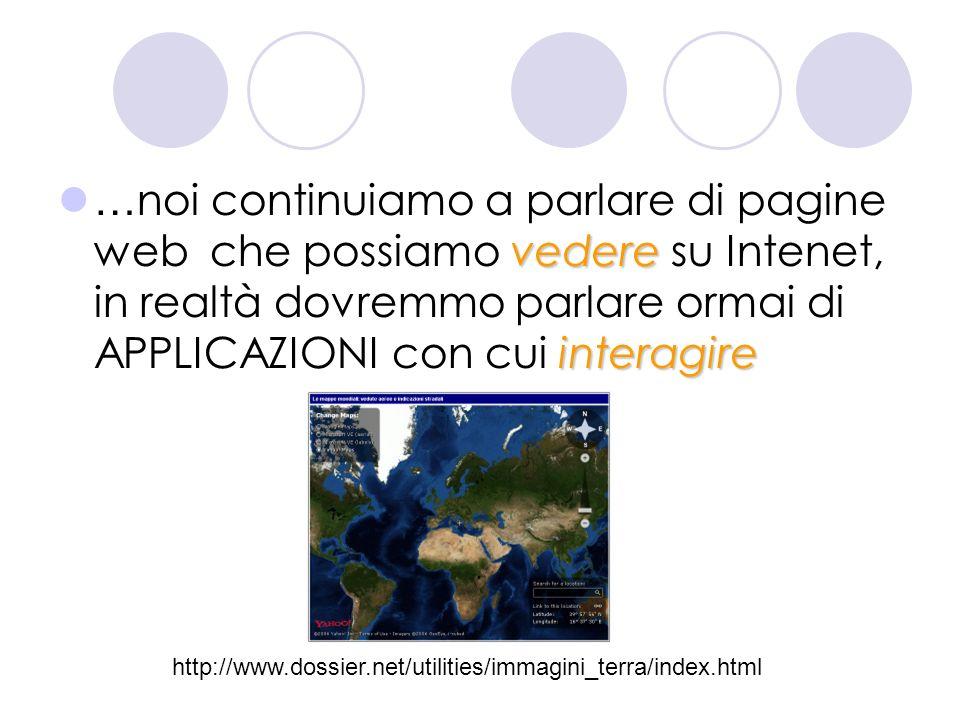 vedere interagire … noi continuiamo a parlare di pagine web che possiamo vedere su Intenet, in realtà dovremmo parlare ormai di APPLICAZIONI con cui i