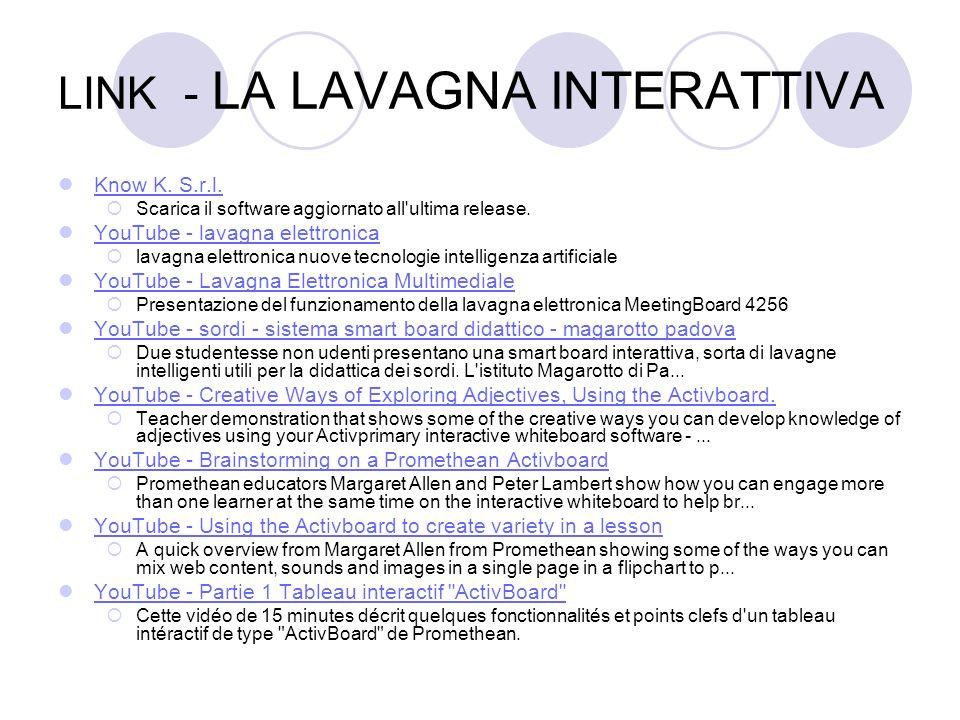 LINK - LA LAVAGNA INTERATTIVA Know K. S.r.l. Scarica il software aggiornato all'ultima release. YouTube - lavagna elettronica lavagna elettronica nuov
