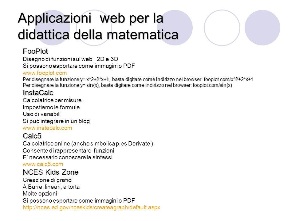Applicazioniweb per la didattica della matematica Applicazioni web per la didattica della matematica FooPlot Disegno di funzioni sul web 2D e 3D Si po