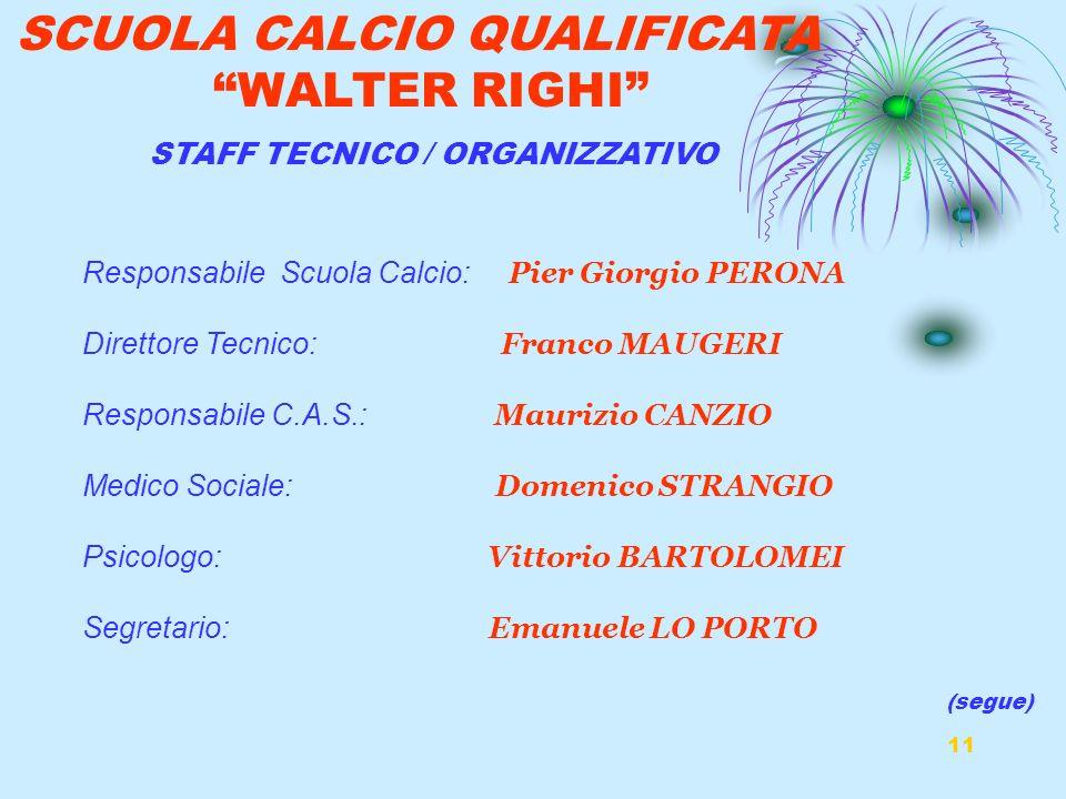 11 SCUOLA CALCIO QUALIFICATA WALTER RIGHI Responsabile Scuola Calcio: Pier Giorgio PERONA Direttore Tecnico: Franco MAUGERI Responsabile C.A.S.: Mauri