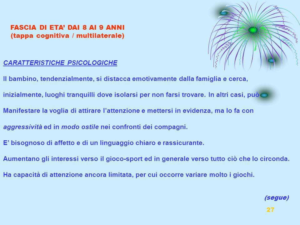 27 FASCIA DI ETA DAI 8 AI 9 ANNI (tappa cognitiva / multilaterale) CARATTERISTICHE PSICOLOGICHE Il bambino, tendenzialmente, si distacca emotivamente