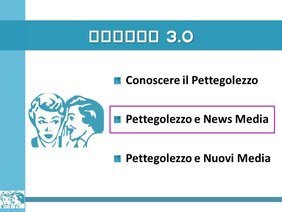 GOSSIP 3.0 Conoscere il Pettegolezzo Pettegolezzo e News Media Pettegolezzo e Nuovi Media