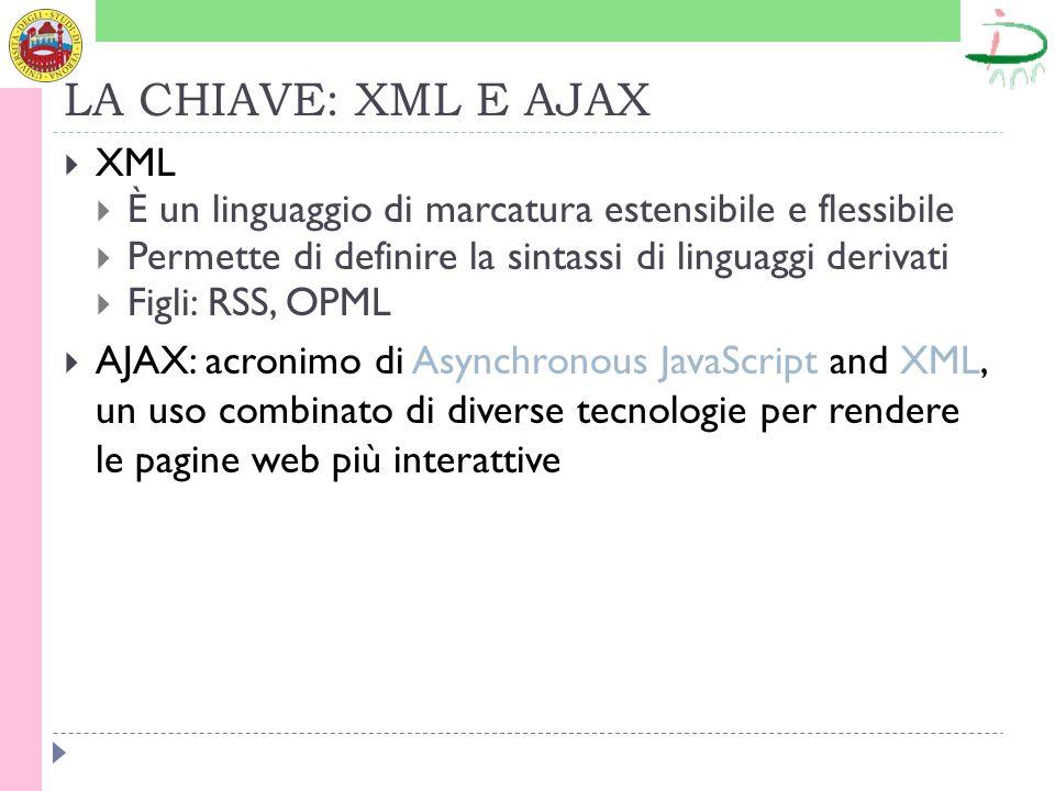 LA CHIAVE: XML E AJAX XML È un linguaggio di marcatura estensibile e flessibile Permette di definire la sintassi di linguaggi derivati Figli: RSS, OPML AJAX: acronimo di Asynchronous JavaScript and XML, un uso combinato di diverse tecnologie per rendere le pagine web più interattive