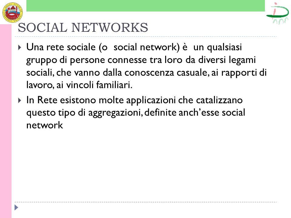 SOCIAL NETWORKS Una rete sociale (o social network) è un qualsiasi gruppo di persone connesse tra loro da diversi legami sociali, che vanno dalla conoscenza casuale, ai rapporti di lavoro, ai vincoli familiari.