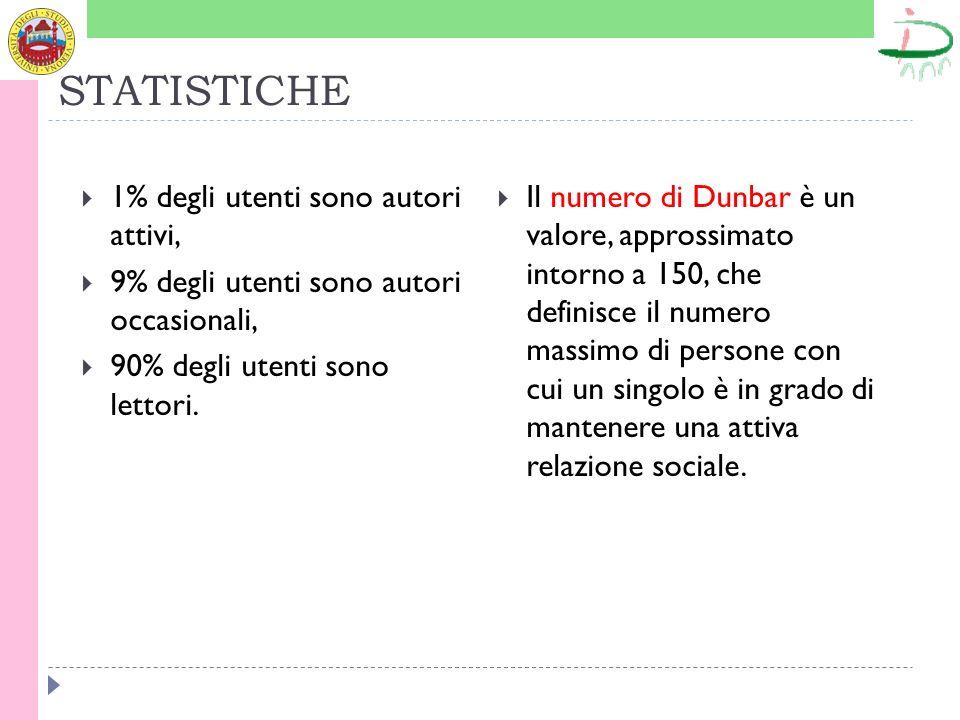 STATISTICHE 1% degli utenti sono autori attivi, 9% degli utenti sono autori occasionali, 90% degli utenti sono lettori. Il numero di Dunbar è un valor