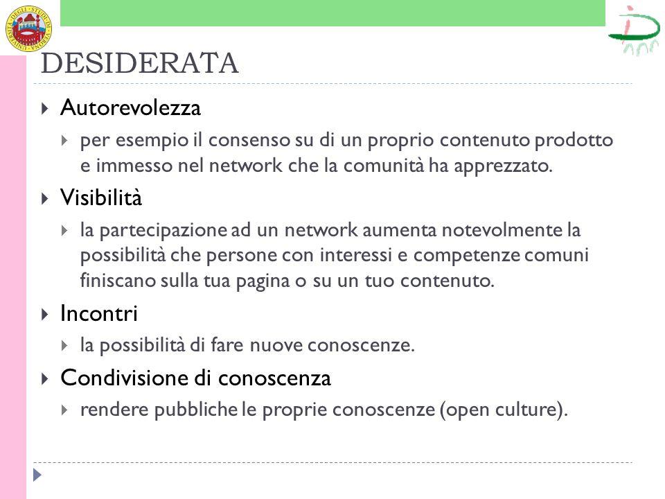 DESIDERATA Autorevolezza per esempio il consenso su di un proprio contenuto prodotto e immesso nel network che la comunità ha apprezzato. Visibilità l