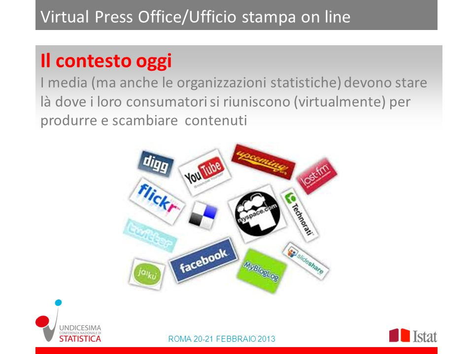 ROMA 20-21 FEBBRAIO 2013 Virtual Press Office/Ufficio stampa on line Il contesto oggi I media (ma anche le organizzazioni statistiche) devono stare là
