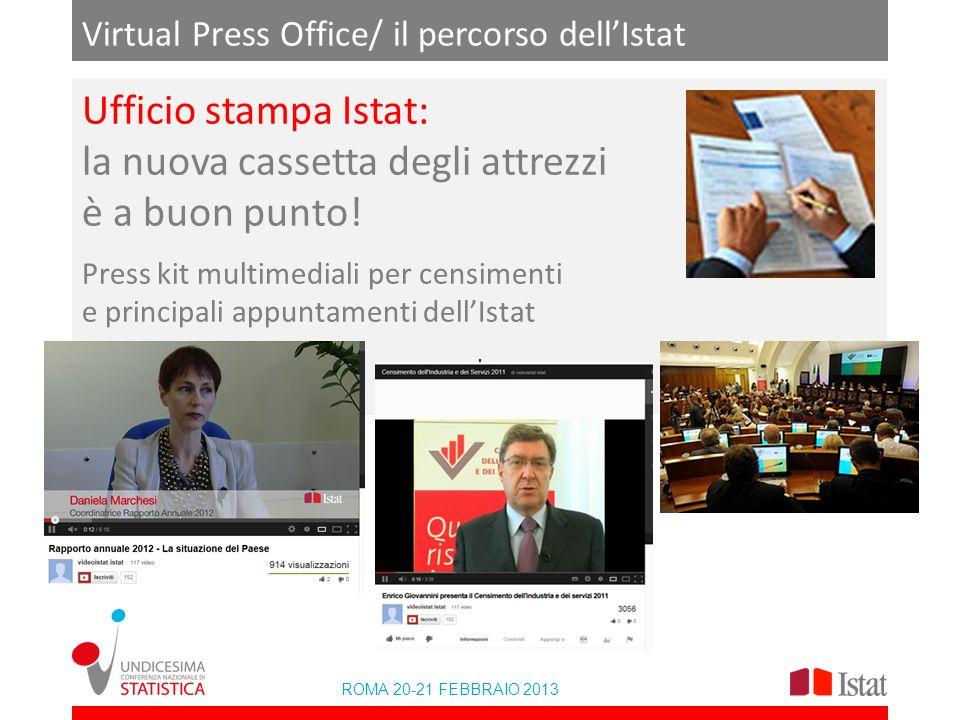 Ufficio stampa Istat: la nuova cassetta degli attrezzi è a buon punto! Press kit multimediali per censimenti e principali appuntamenti dellIstat ROMA