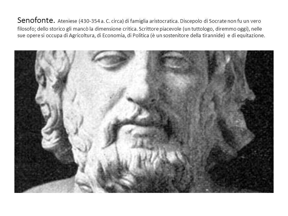Senofonte NellAnabasi racconta la rovinosa ritirata dellEsercito di Ciro (al quale si era aggregato) nella guerra contro il fratello Artaserse II (401 a.C) Dopo la morte di Ciro e la liquidazione di tutti i generali voluta con linganno da Tissaferne durante la ritirata, i Diecimila rimangono senza guida e Senofonte diviene il comandante Egli annota minuziosamente gli eventi in una sorta di diario di viaggio (o di guerra) parlando di sé in terza persona.
