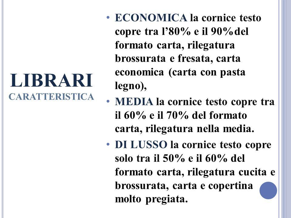 LIBRARI CARATTERISTICA ECONOMICA la cornice testo copre tra l80% e il 90%del formato carta, rilegatura brossurata e fresata, carta economica (carta co