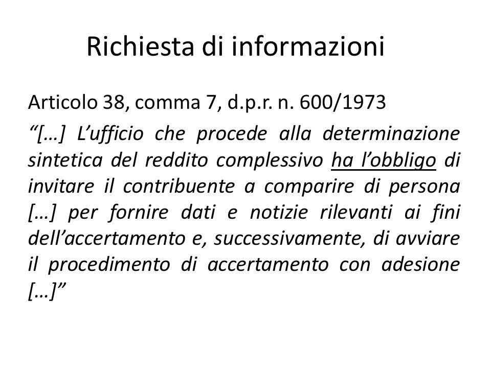 Richiesta di informazioni Articolo 38, comma 7, d.p.r.