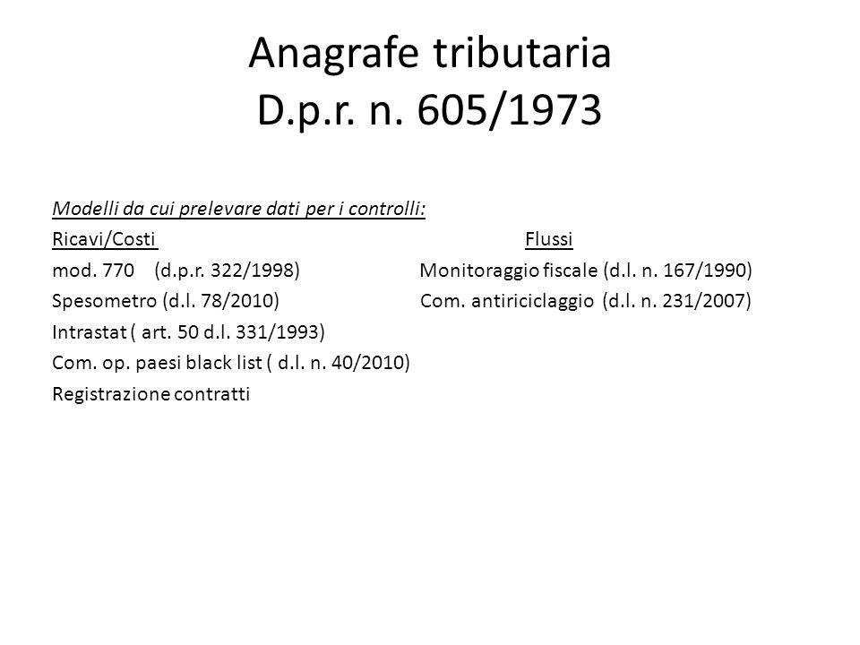 Anagrafe tributaria D.p.r. n.
