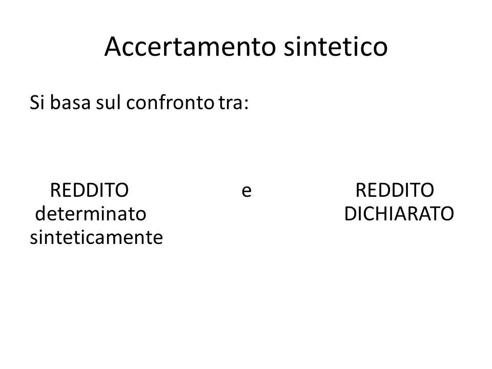 Accertamento sintetico Si basa sul confronto tra: REDDITO e REDDITO determinato DICHIARATO sinteticamente