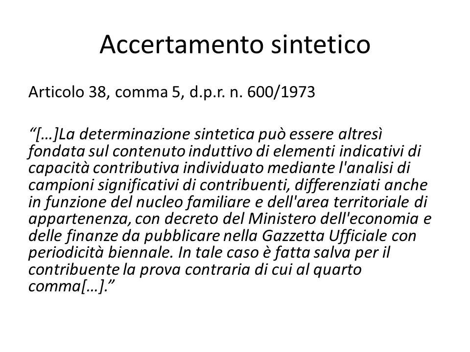 Accertamento sintetico Articolo 38, comma 5, d.p.r.