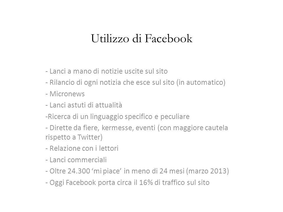 Utilizzo di Facebook - Lanci a mano di notizie uscite sul sito - Rilancio di ogni notizia che esce sul sito (in automatico) - Micronews - Lanci astuti di attualità -Ricerca di un linguaggio specifico e peculiare - Dirette da fiere, kermesse, eventi (con maggiore cautela rispetto a Twitter) - Relazione con i lettori - Lanci commerciali - Oltre 24.300 mi piace in meno di 24 mesi (marzo 2013) - Oggi Facebook porta circa il 16% di traffico sul sito