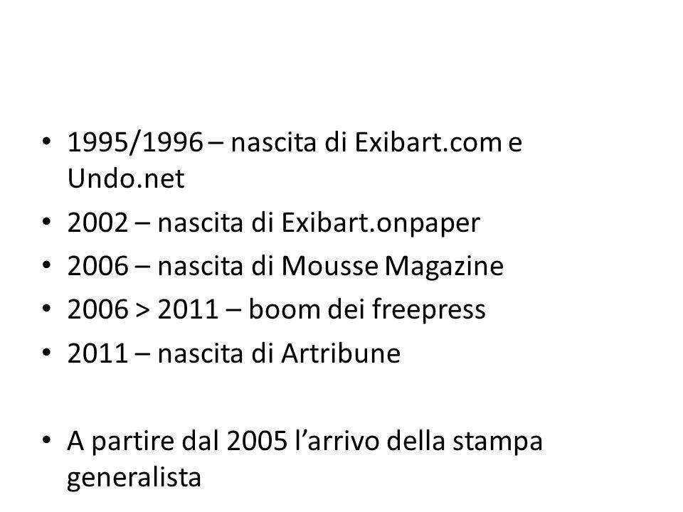1995/1996 – nascita di Exibart.com e Undo.net 2002 – nascita di Exibart.onpaper 2006 – nascita di Mousse Magazine 2006 > 2011 – boom dei freepress 2011 – nascita di Artribune A partire dal 2005 larrivo della stampa generalista