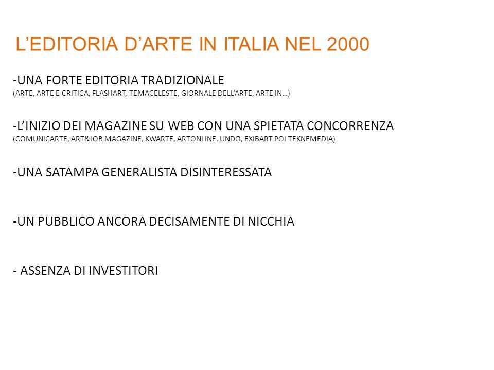 LEDITORIA DARTE IN ITALIA NEL 2000 -UNA FORTE EDITORIA TRADIZIONALE (ARTE, ARTE E CRITICA, FLASHART, TEMACELESTE, GIORNALE DELLARTE, ARTE IN…) -LINIZIO DEI MAGAZINE SU WEB CON UNA SPIETATA CONCORRENZA (COMUNICARTE, ART&JOB MAGAZINE, KWARTE, ARTONLINE, UNDO, EXIBART POI TEKNEMEDIA) -UNA SATAMPA GENERALISTA DISINTERESSATA -UN PUBBLICO ANCORA DECISAMENTE DI NICCHIA - ASSENZA DI INVESTITORI