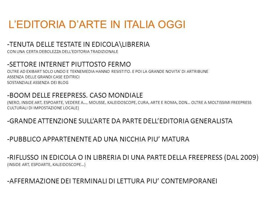 LEDITORIA DARTE IN ITALIA OGGI -TENUTA DELLE TESTATE IN EDICOLA\LIBRERIA CON UNA CERTA DEBOLEZZA DELLEDITORIA TRADIZIONALE -SETTORE INTERNET PIUTTOSTO FERMO OLTRE AD EXIBART SOLO UNDO E TEKNEMEDIA HANNO RESISTITO.